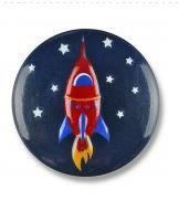 Rakete im Sternenhimmel Knopf 15mm