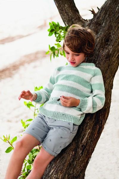 Streifen-Pullover Kinder 1907-10 - Strick-Set (SANDNES)